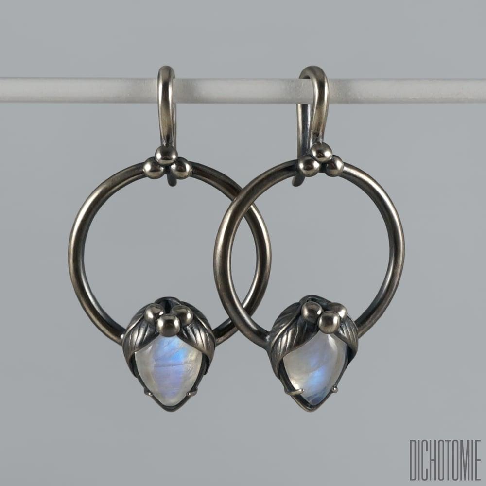 Image of La Belladonna Ear Weights Rainbow Moonstone