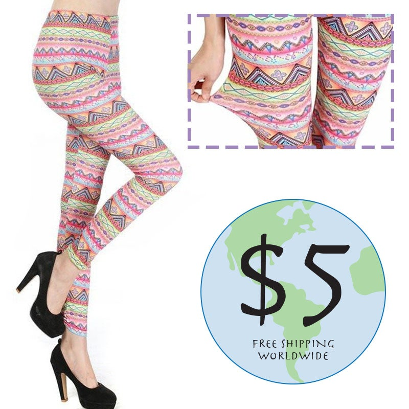 Image of Yoga Leggings (Pink Tribal Design)