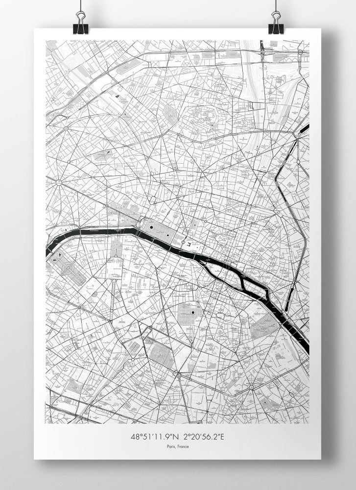 Image of Paris Map Poster - B&W