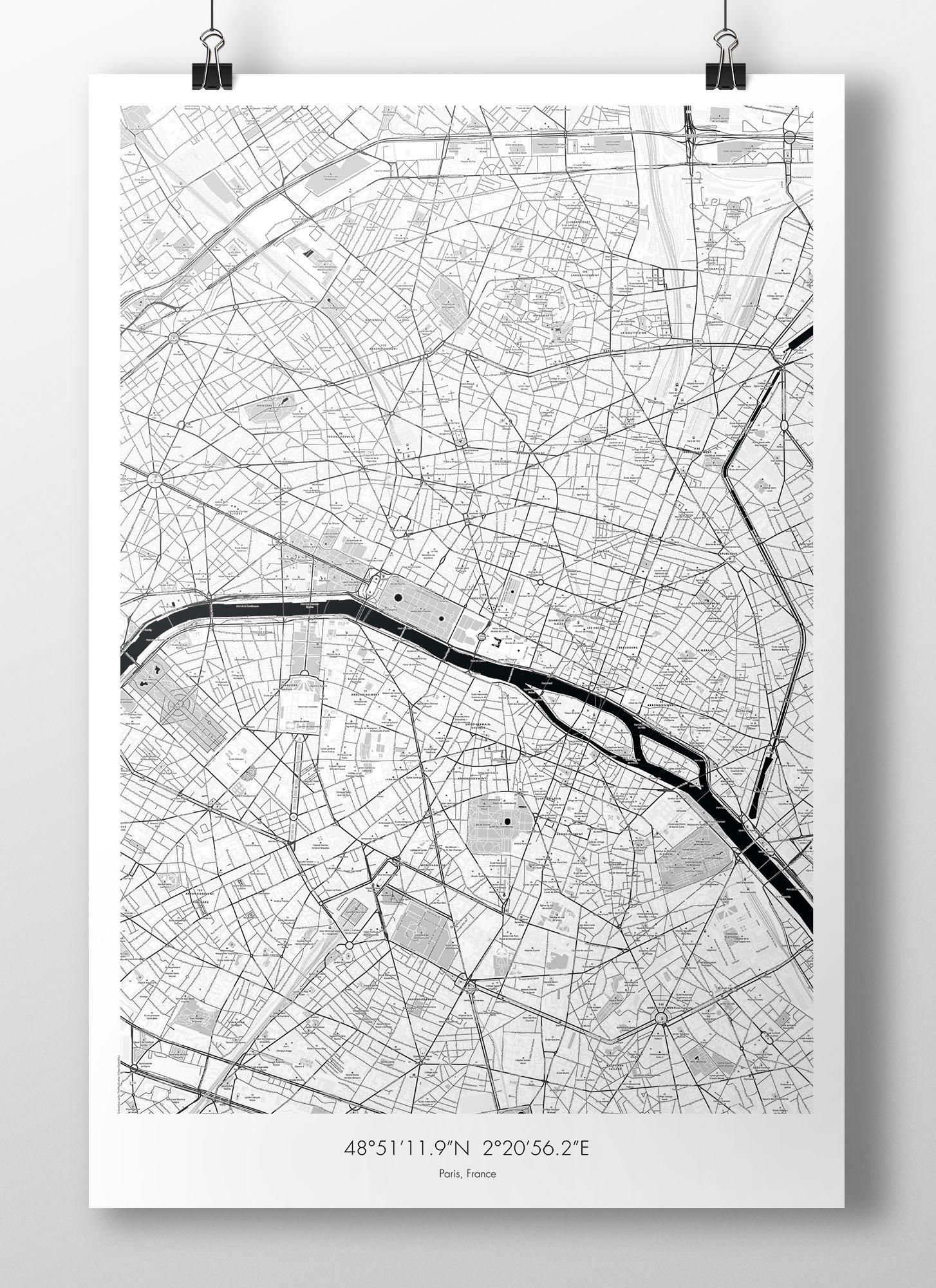 Image of Paris Map Poster - B&W