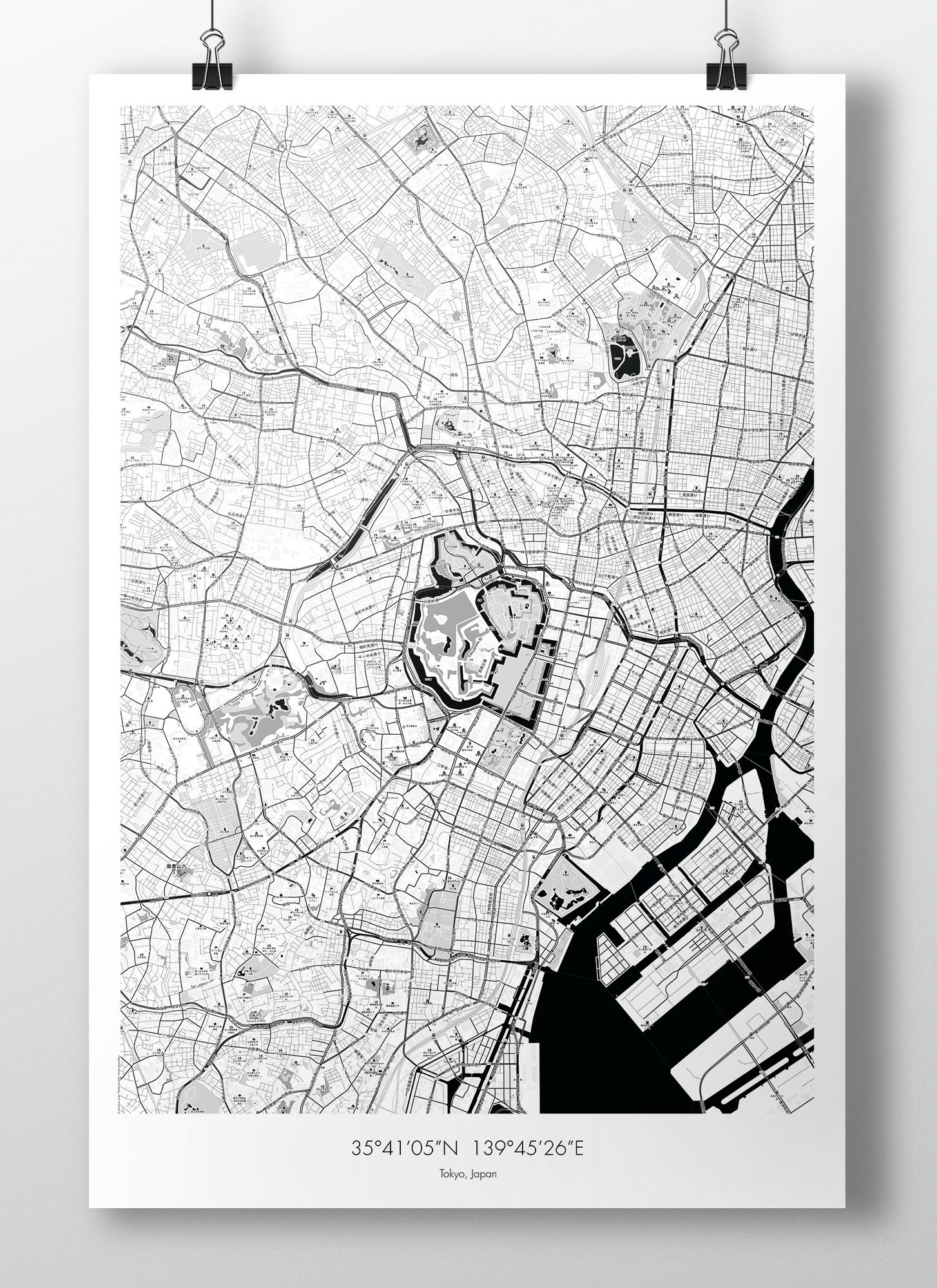 Image of Tokyo Map Poster - B&W