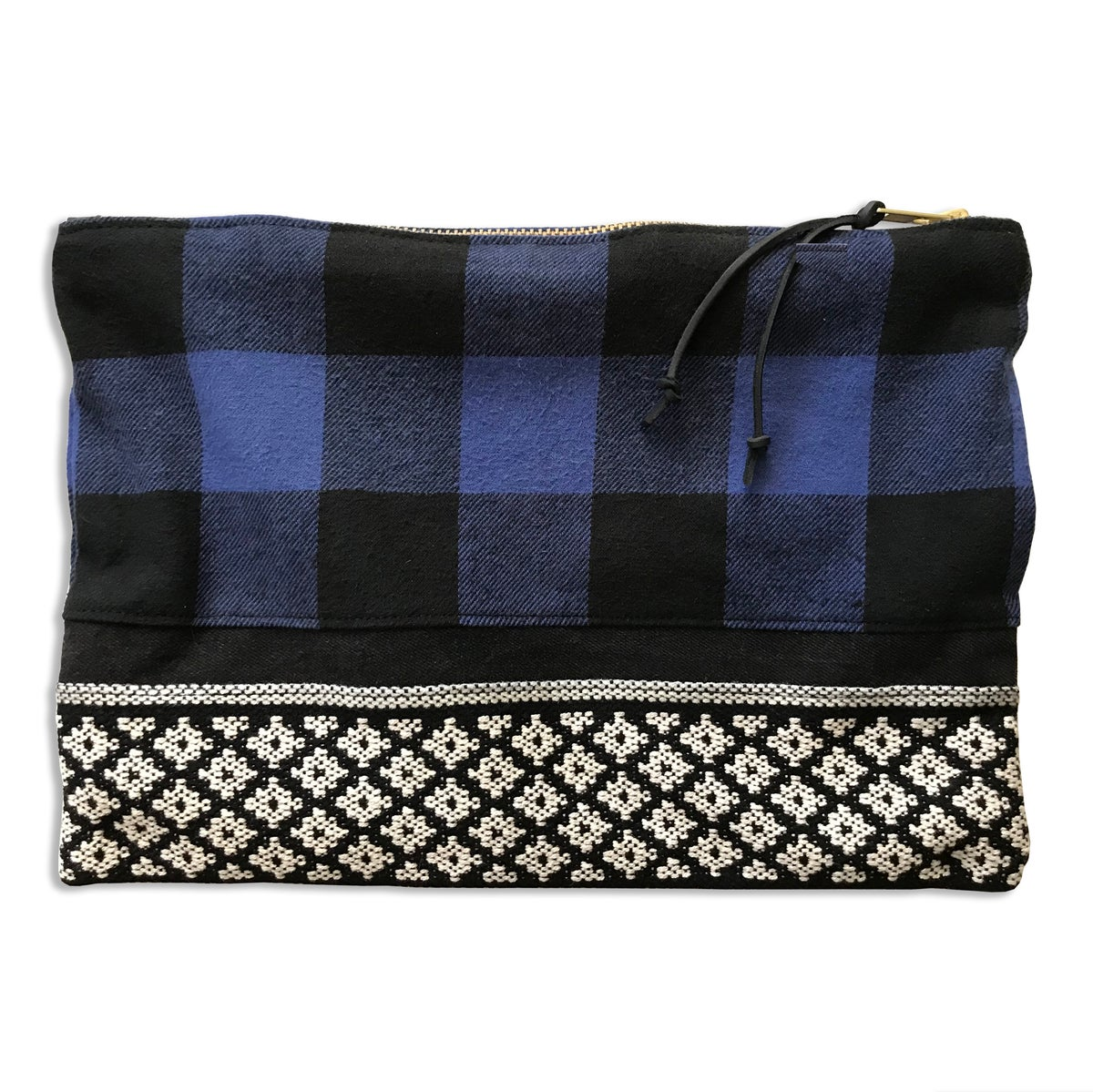 Image of BLUE BUFFALO PLAID LARGE POUCH