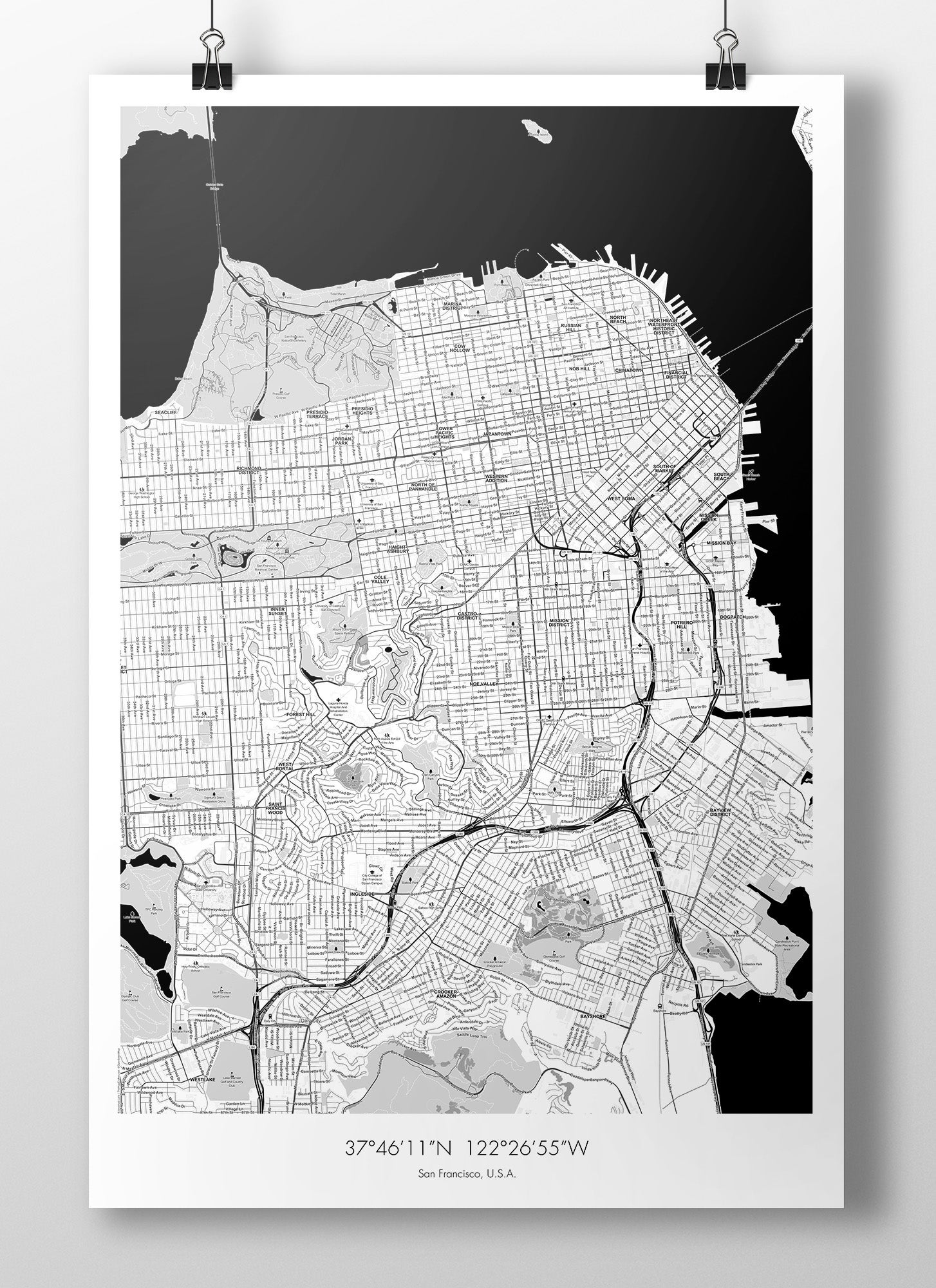 Image of San Francisco Map Poster - B&W