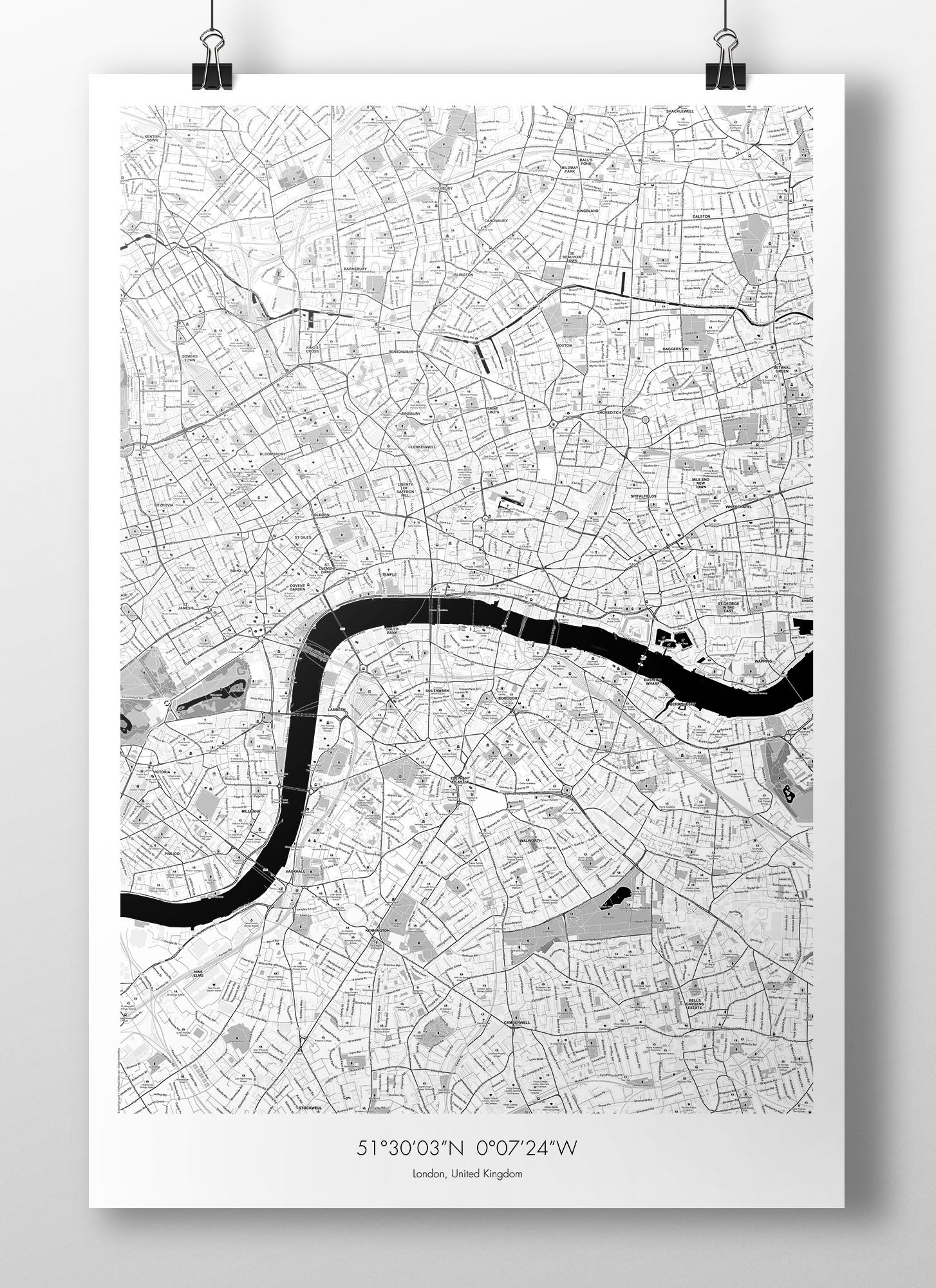 Image of London Map Poster - B&W