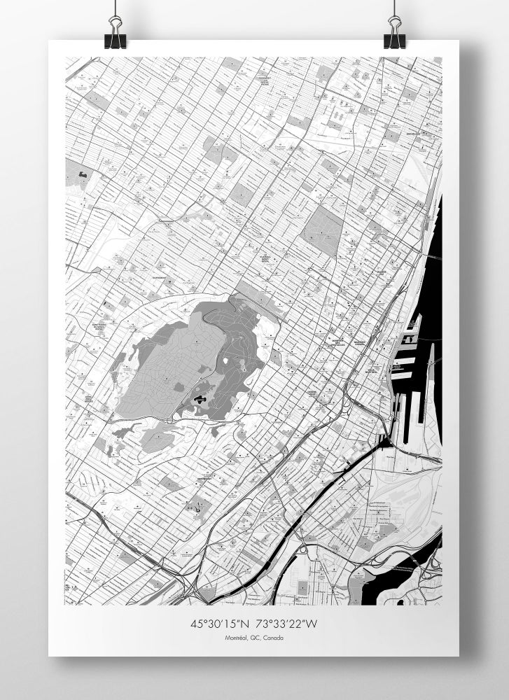 Image of Montreal Map Poster - B&W