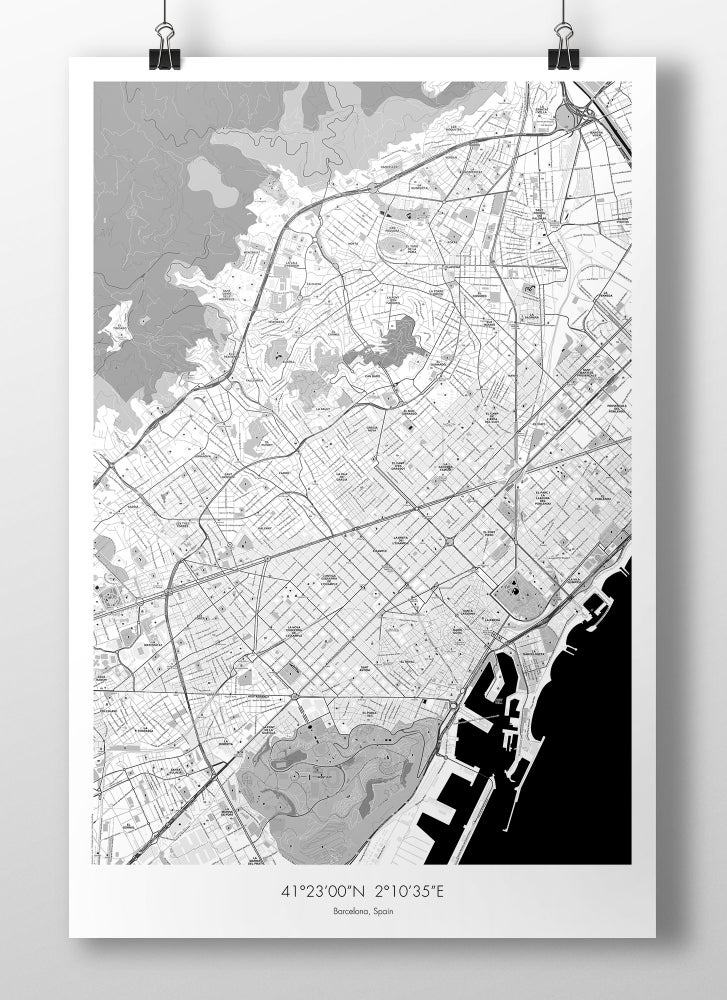 Image of Barcelona Map Poster - B&W