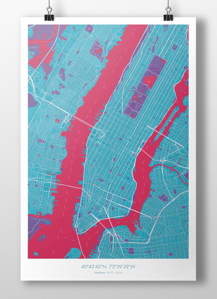 Image of Manhattan Map Poster Lightblue + Red