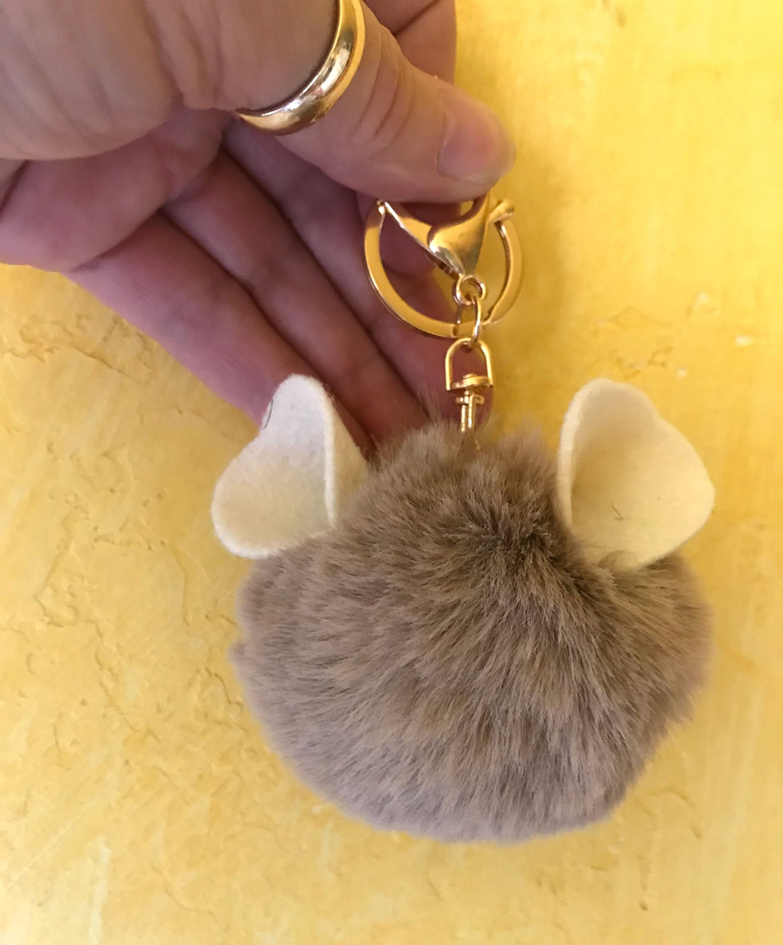 Image of Adorable Faux Fur Chinchilla Ear Keychain/Purse Clip