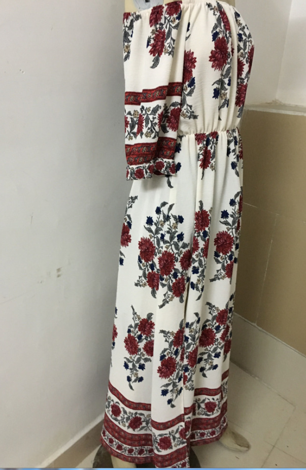 Image of Hot style one-word shoulder-printed cross-dress
