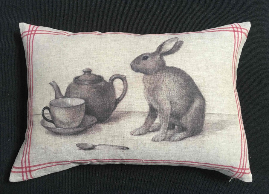 Image of Rabbit Tea Towel Cushion