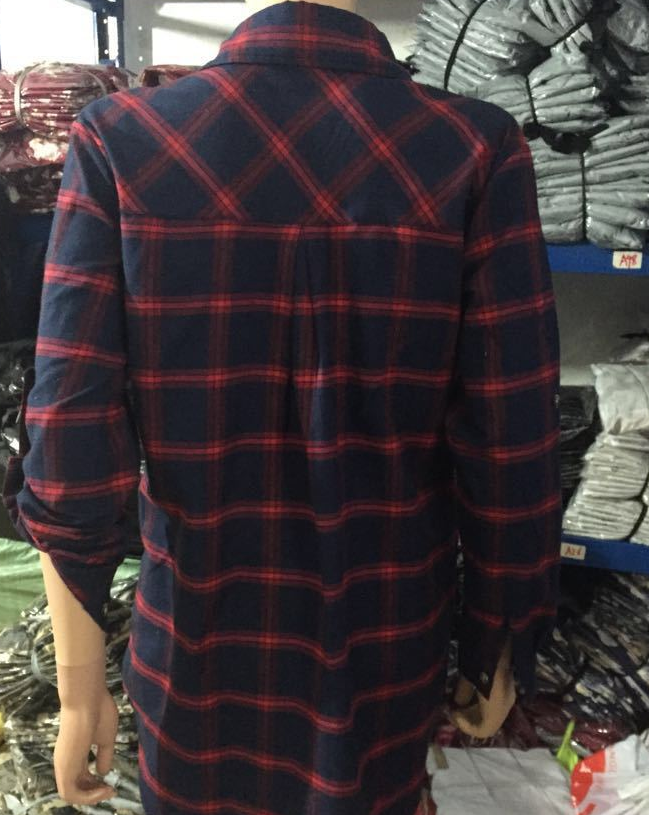 Image of The new plaid shirt collar dress
