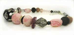 Image of ONE OFF Rhodocrosite and Ruby with Silvered Lava Necklace