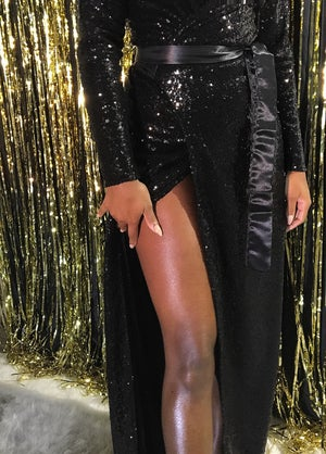 Image of 'MONROE' Fully Lined Floor Length Sequin Gown w/ Satin Belt