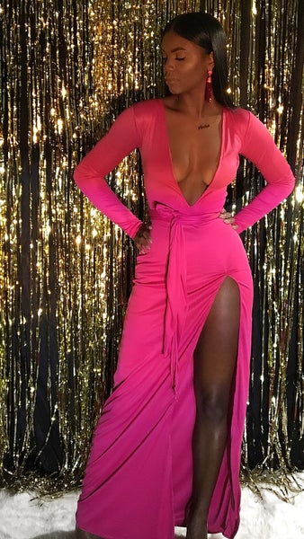 Image of Studio Exclusive 'RORI' Manic Pink Floor Length Gown w/ Belt