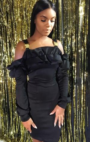 Image of 'REYHZA' Bomber Mini Dress w/ Buckle Straps