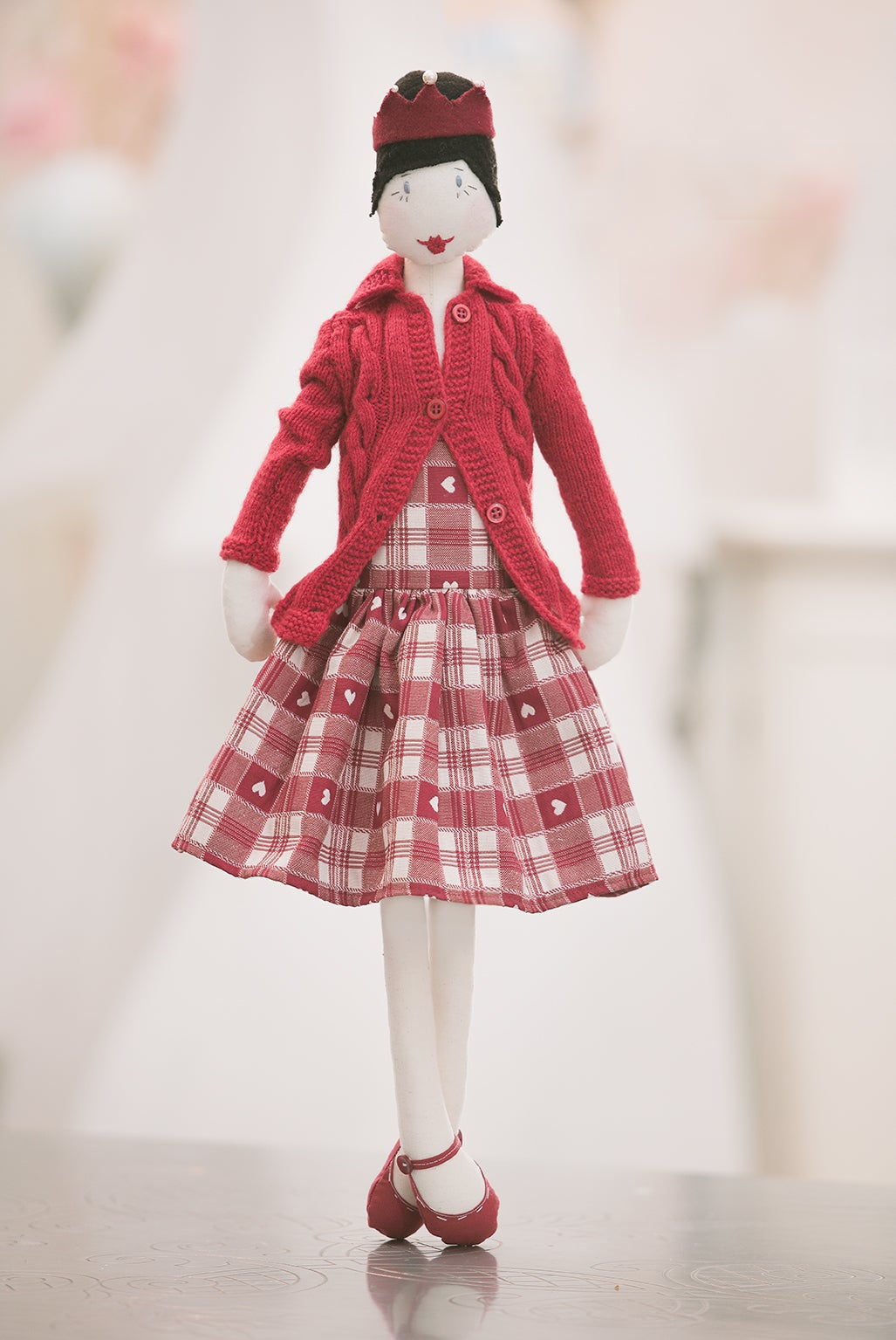 Image of Rosa in winter red outfit