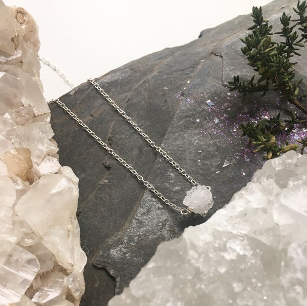 Image of Ice Clouds - Sterling Silver Necklace with Quartz Crystal