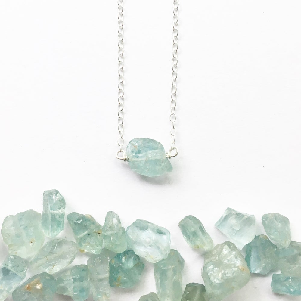 Image of Aquamarine Nugget Necklace - on Sterling Silver