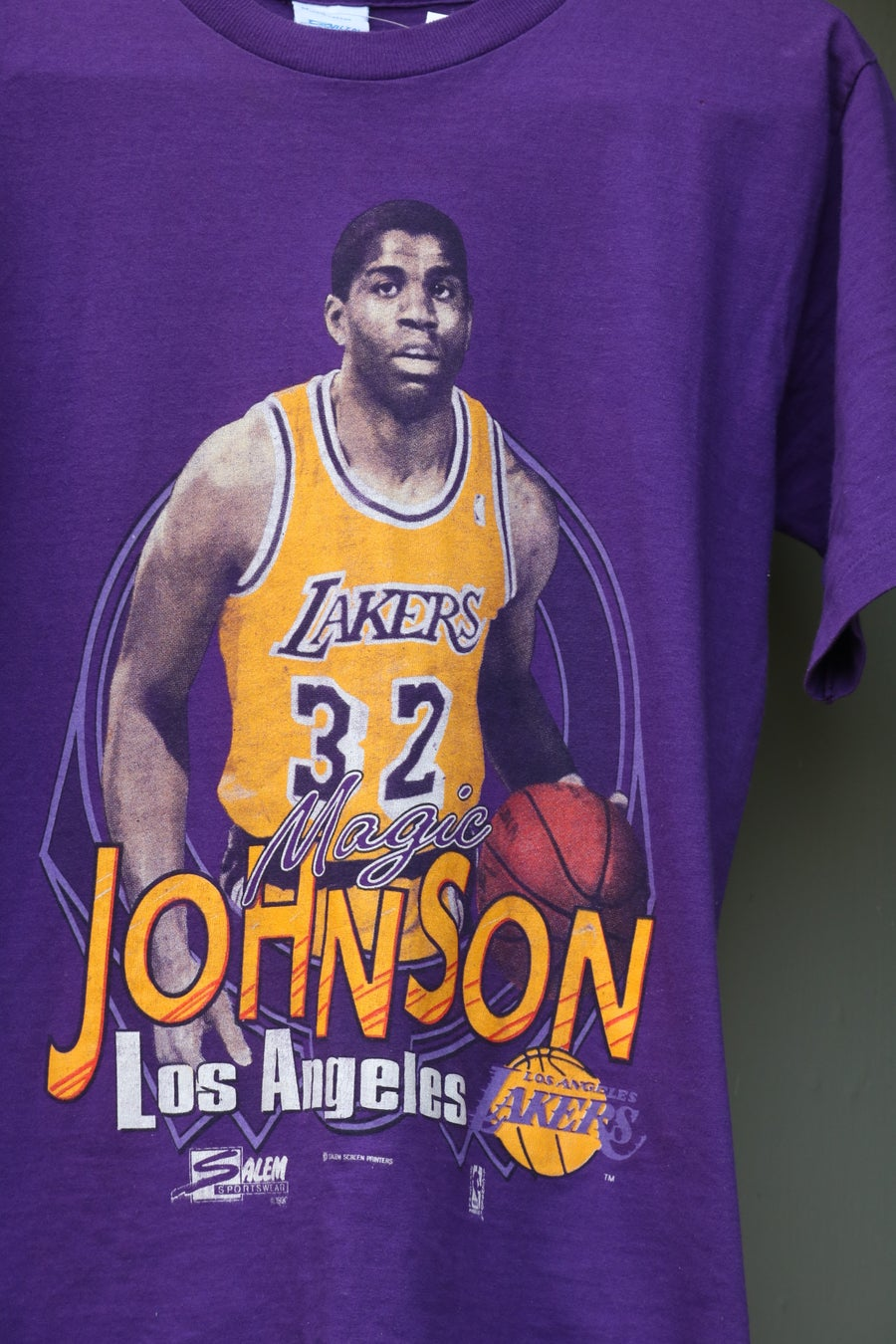 "Image of Rare 1990 Vintage Salem Sportswear ""MAGIC JOHNSON- Los Angeles Lakers"" Specialty T-shirt Sz: MEDIUM"