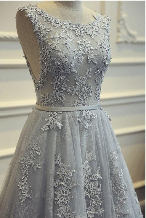 Grey Prom Dresses 2018, Elegant Party Dresses, Lace Prom Dresses 2018