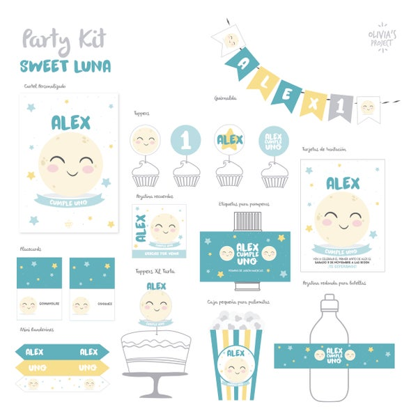 Image of Party Kit Sweet Luna Impreso