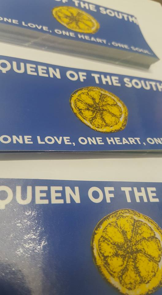 Image of Queen of the South One Love 10x5cm 25 pack of Football Ultras Stickers New.
