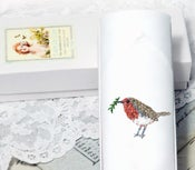 Image of Hand Embroidered Robin Ladies Hankie