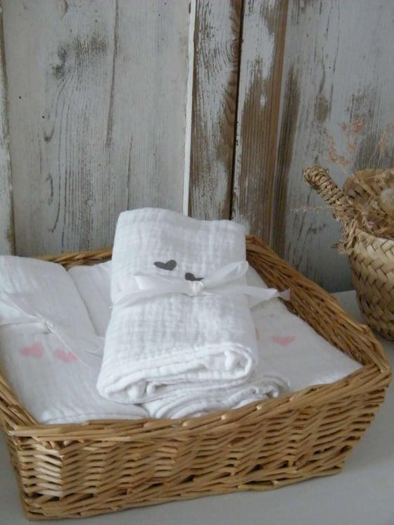 Image of Lange coton blanc, motif coeurs