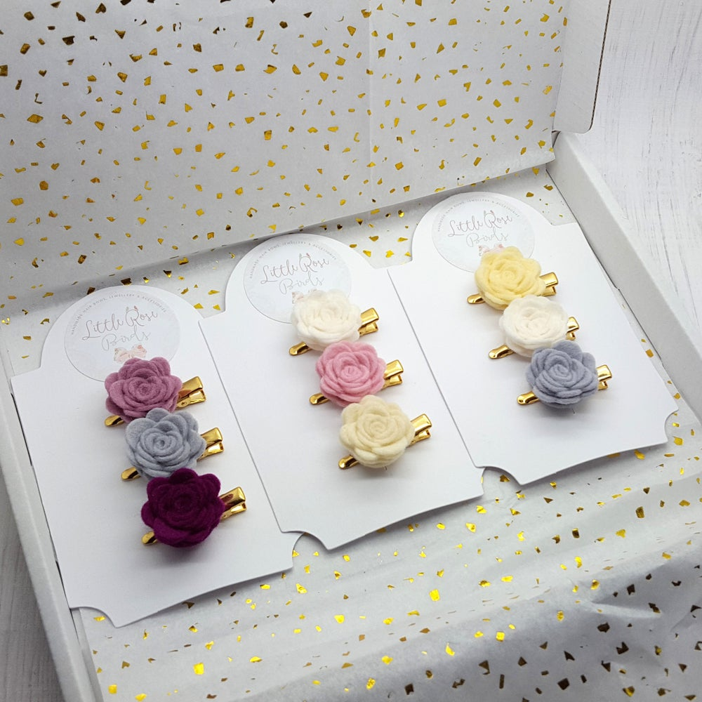 Image of CHOOSE YOUR OWN COLOUR - Set of 3 Small Felt Rose Clips - Choice of 50+ Colours