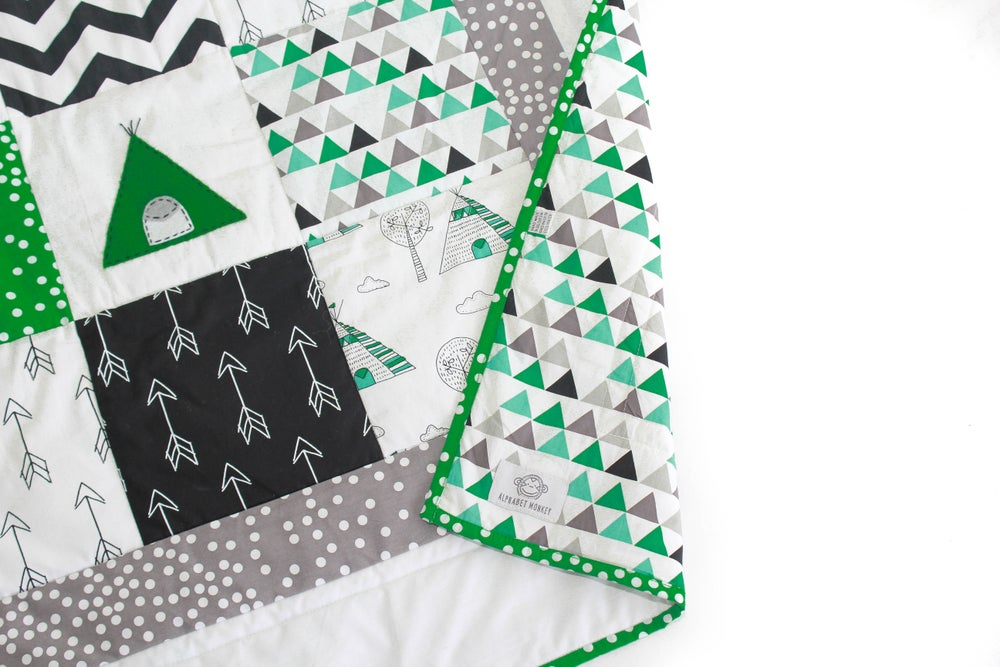 Image of Teepee Baby boy Cot Quilt