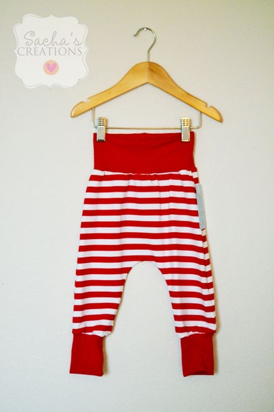 Image of Red Striped Harem Pants