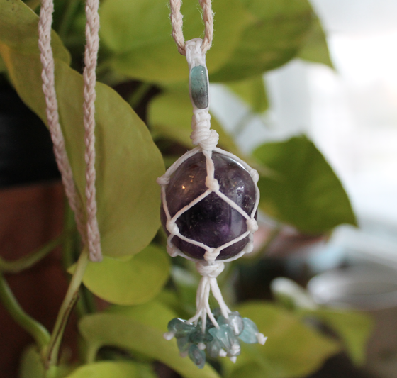 Image of Amethyst & Blue Apatite Hemp Necklace