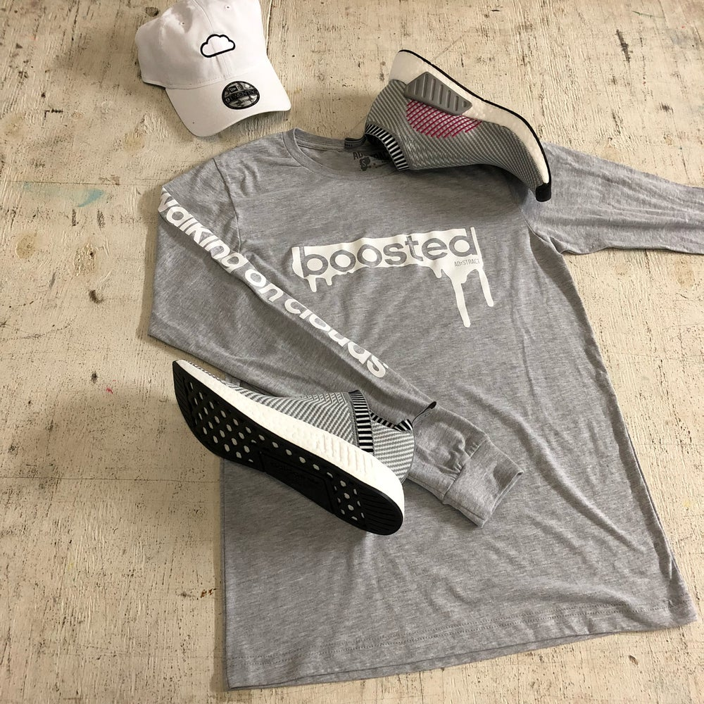 """BOOSTED """" WHITE PRINT """" LONG SLEEVE"""