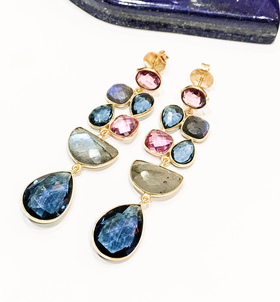 Image of Tourmaline, Iolite and Labradorite Earrings