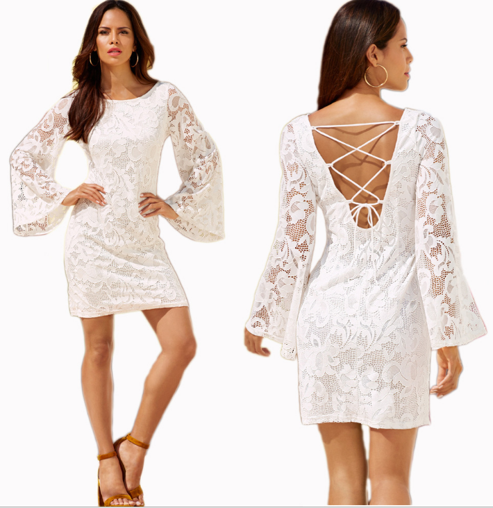 Image of Lace hollowed-out long-sleeved dresses