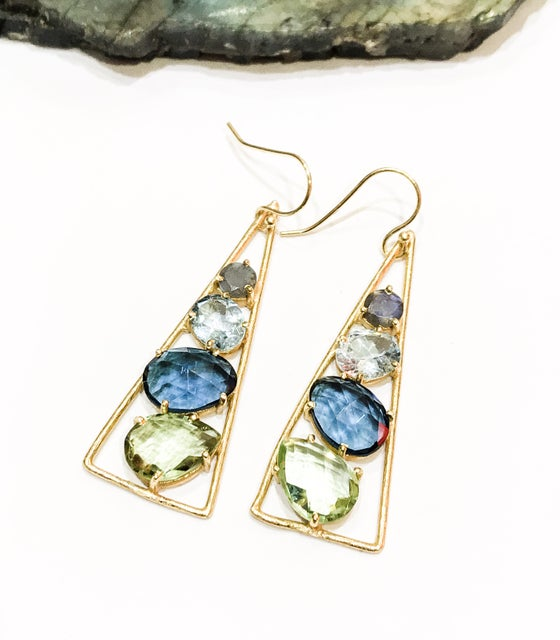 Image of 4 Stone Stacking Earrings