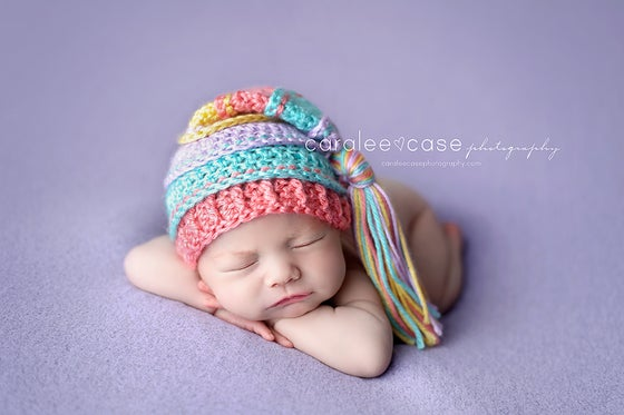 Image of Spring Showers Tassel Hat- Lavender, Aqua, Coral and Yellow