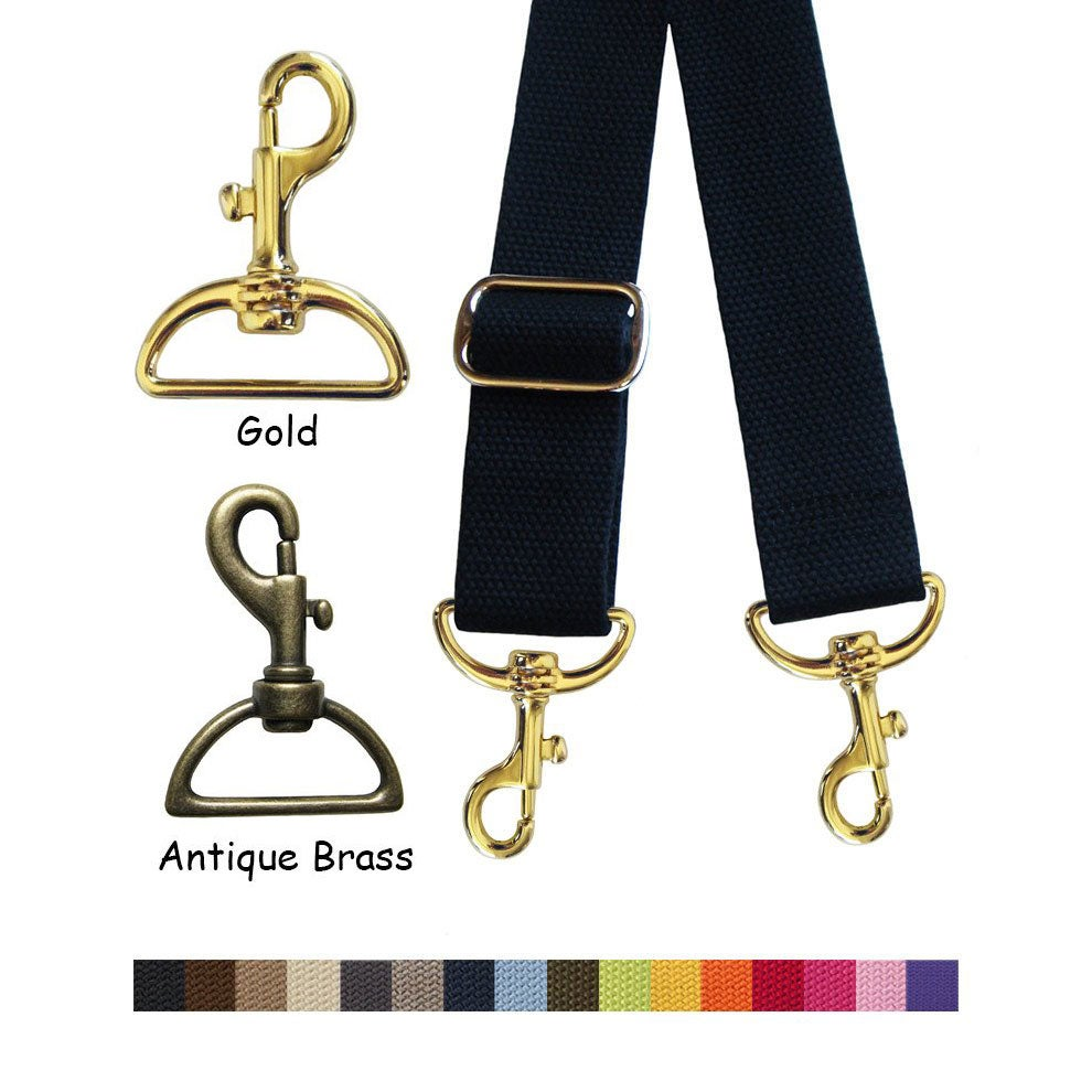 "Image of Cotton Canvas Webbing Strap - Adjustable - 1.5"" Wide - Choose Color, Length & Gold-tone Hook #19"
