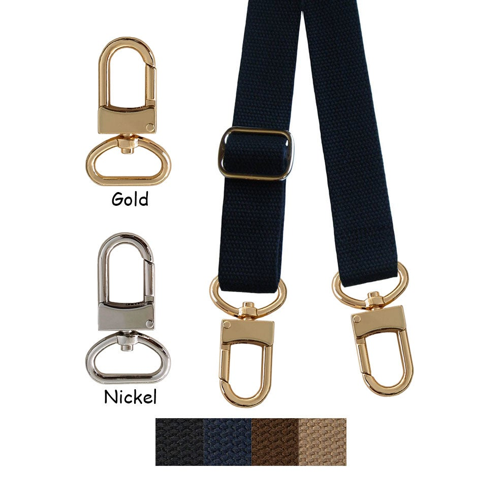 "Image of Cotton Canvas Webbing Strap - Adjustable - 1"" Wide - Choose Color, Length & Gold/Nickel #16LG Hooks"