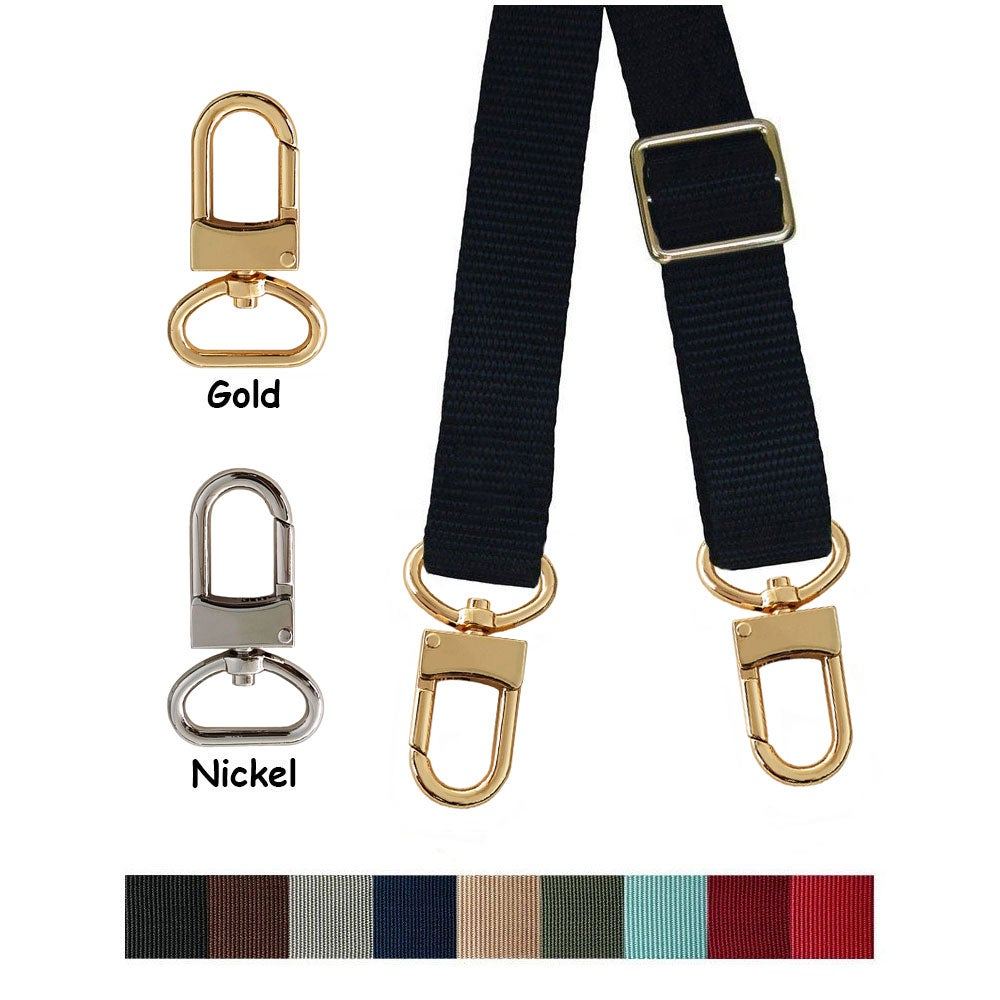 "Image of Nylon Webbing Strap - Adjustable - 1"" (inch) Wide - Choose Color, Length & Hook #16XLG Finish"