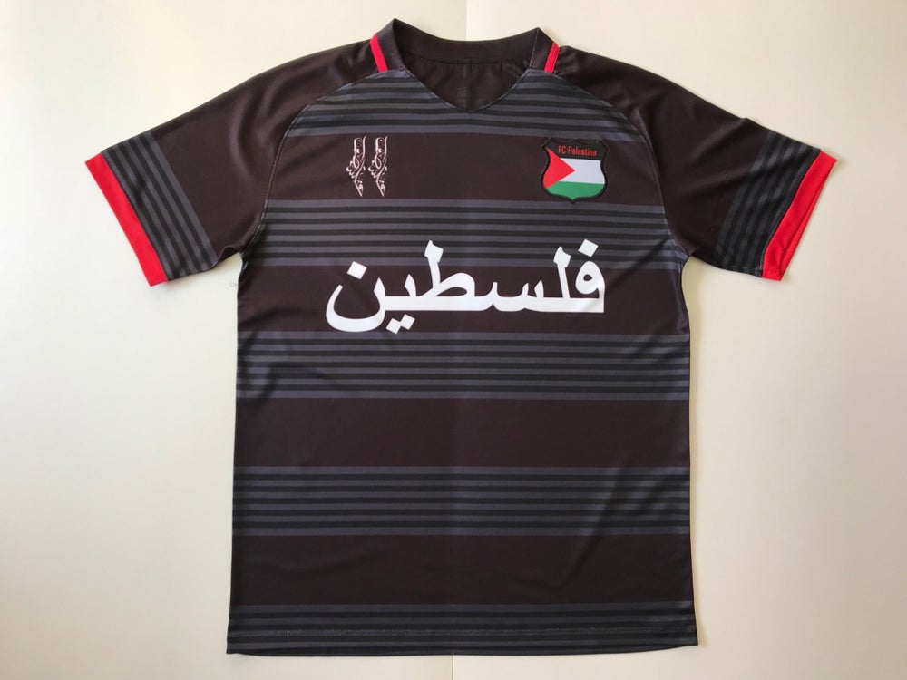 Image of Palestine Black hooped Football Shirt
