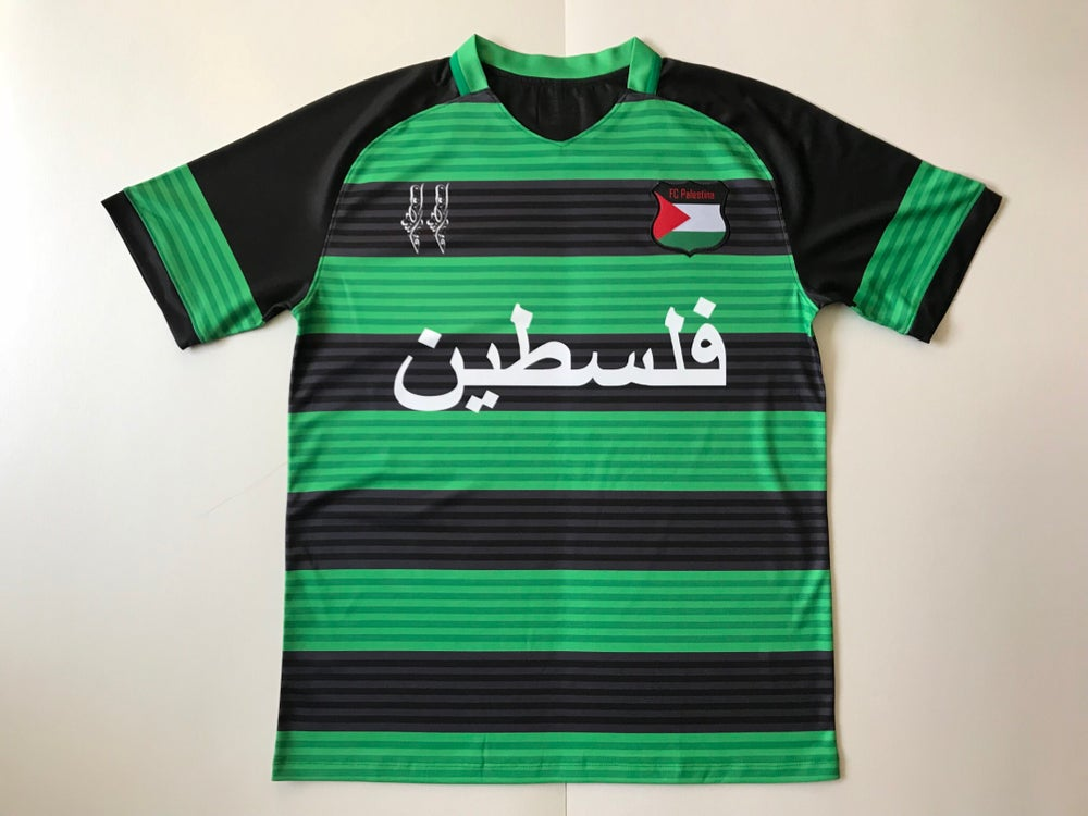 Image of Palestine Black hooped (Green/Black) Football Shirt