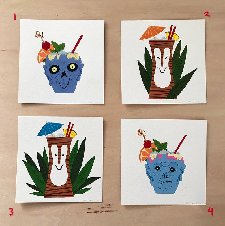 Image of Tiki Drinks - Original Gouache Paintings