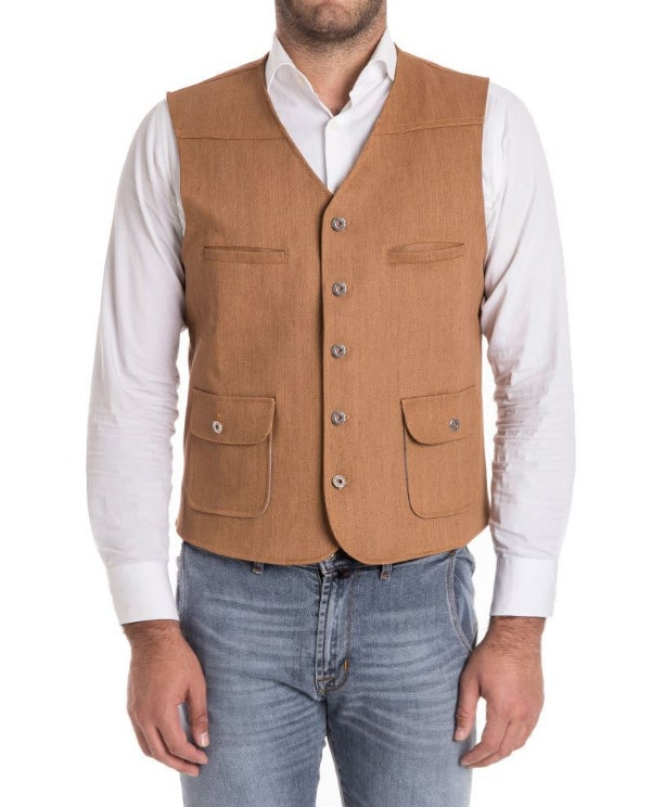 Image of GILET DENIM MARRONE TERRA R90M