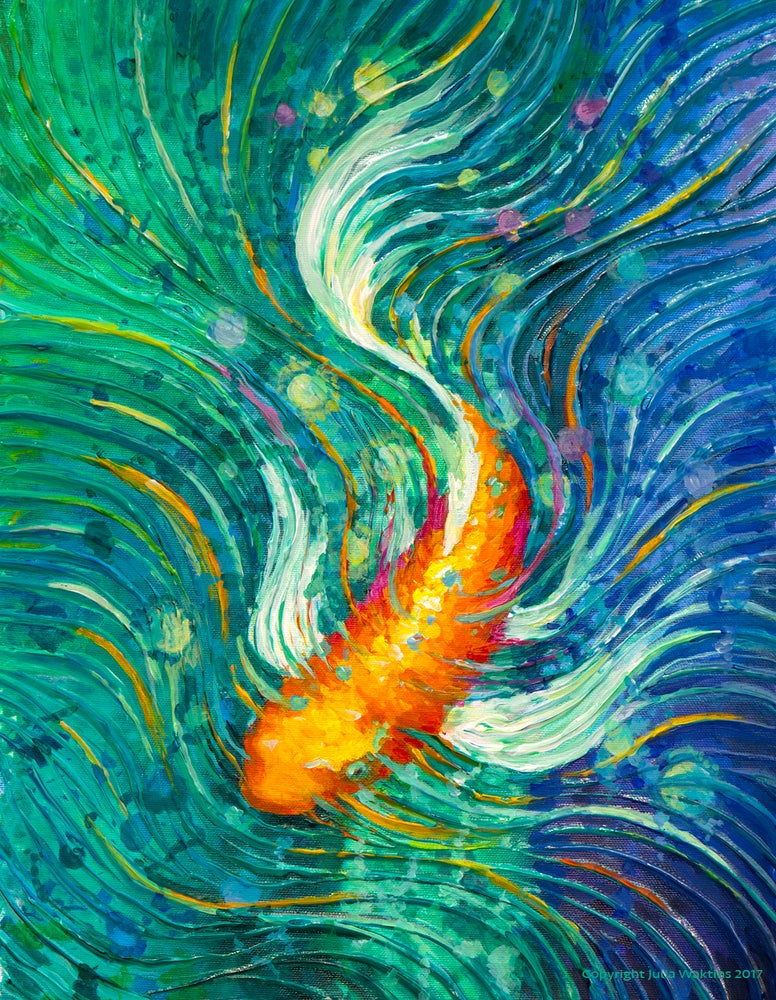 Image of Magic Money Fish - Wealth, Success & Abundance Energy Painting - Giclee Print