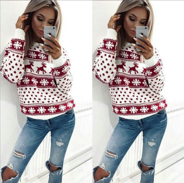 Image of Cartoon fawn print long-sleeve circular neck knit top