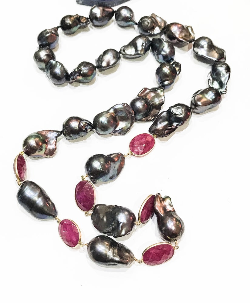 Image of Baroque Pearl and Ruby Necklace