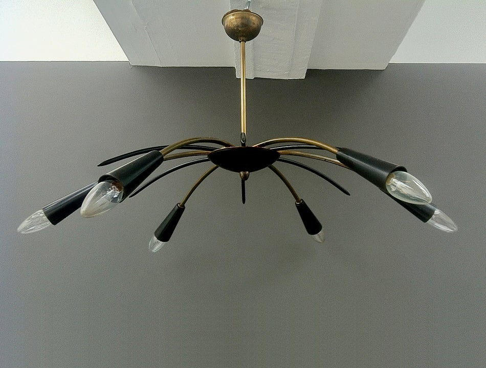 Image of 6-Arm Mid-Century Spider Chandelier