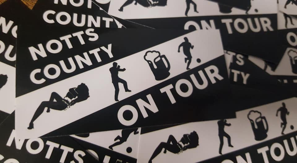 Image of Notts County On Tour Football Casuals/Ultras 10x5cm Stickers. Pack of 25.