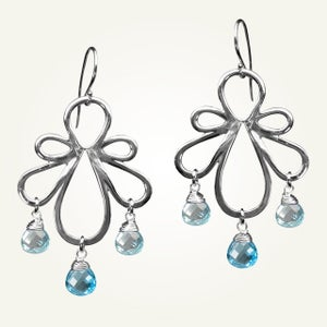 Image of Biergarten Earrings with Blue Topaz, Sterling Silver